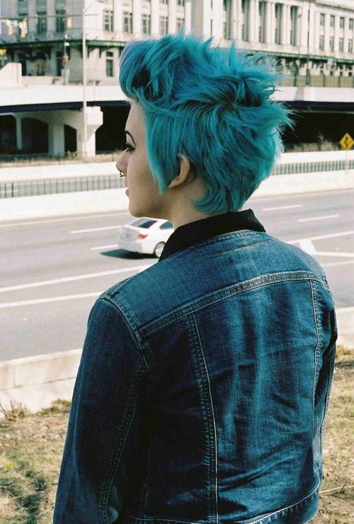 Short hair blue
